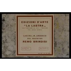 REMO BRINDISI - INCISIONE SU LASTRA D'ARGENTO (ARG.800/GR 500) Cm 30x40 + CORNICE