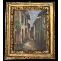 MARIO MALDARELLI (XIX-XX) VICOLO RURALE - DIPINTO OLIO SU TELA 50 X 40 Cm.