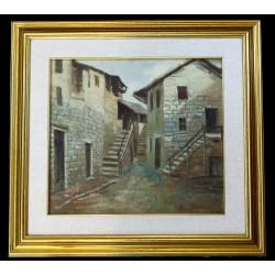MARIO MALDARELLI (XIX-XX) BORGO ALPINO - DIPINTO OLIO SU TELA 35 X 40 Cm.